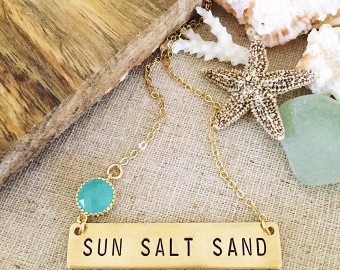 SUN SALT SAND Gold Fill Stamped Layering Name Plate Bohemian Boho Bar Necklace Beach Glass