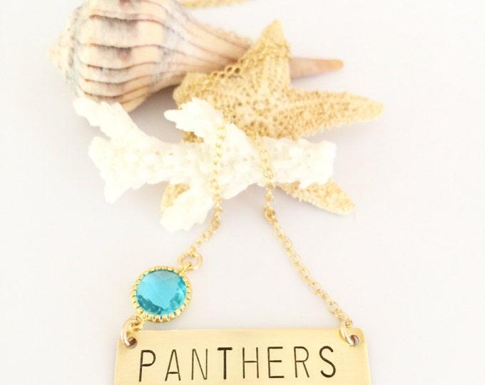 CAROLINA Panthers Bar Necklace Stamped Gold Fill North Carolina Keep Pounding Super Bowl Layering Football