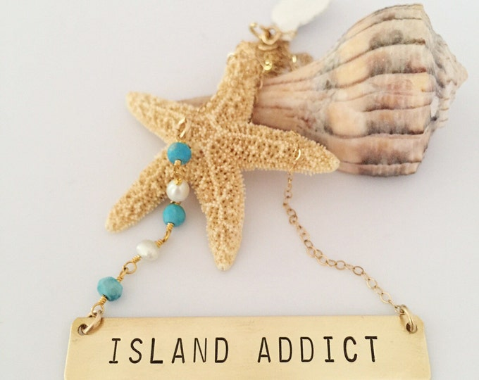 Island Addict Stamped Gold Fill Bar Nameplate Nautical Bridesmaids Beach Ocean Outer Banks OBX Custom Personalized