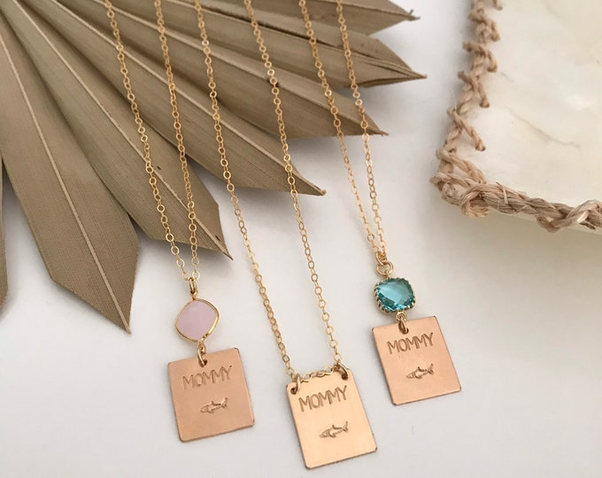 Mommy Shark Stamped Gold Fill Bar Necklace Baby Shark Custom Personalized All Washed Up