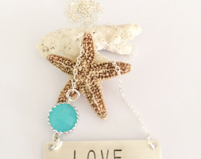 Love Sterling Silver Stamped Necklace Bar Nameplate Layering Gift Custom Personalized Necklace Family Love Gift Mom Momma