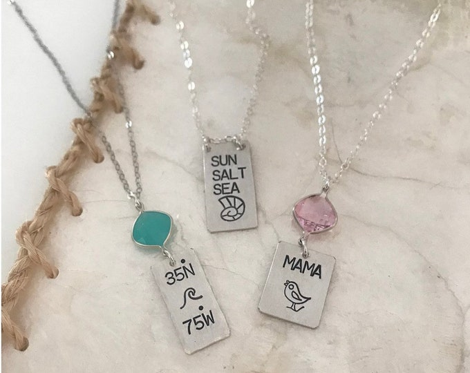 New Sterling Silver Mini Tag Necklace