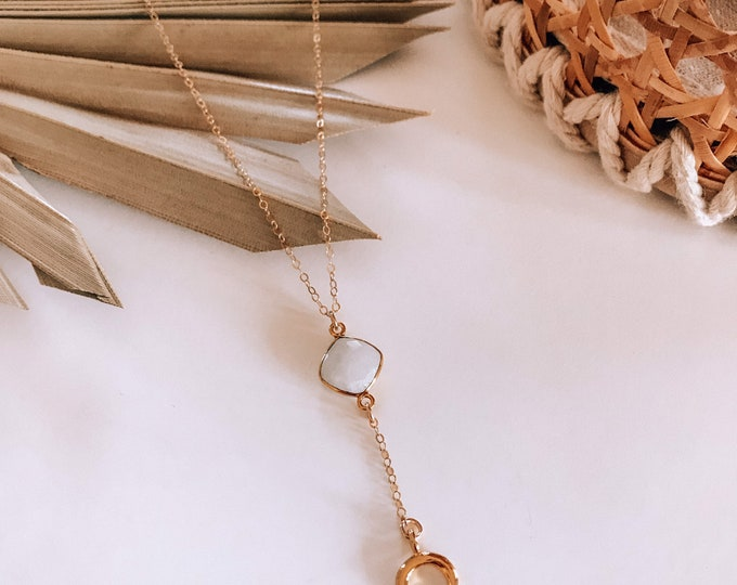 New! // Moonstone Crescent Horn Lariat Necklace