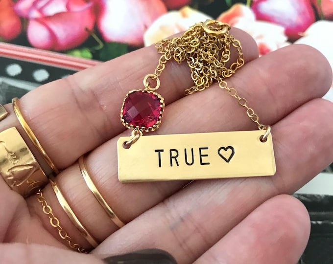 NEW! // True Love Stamped Gold Fill Nameplate Layering Love Hearts Hugs Kisses Valentines Vday Mothers Day