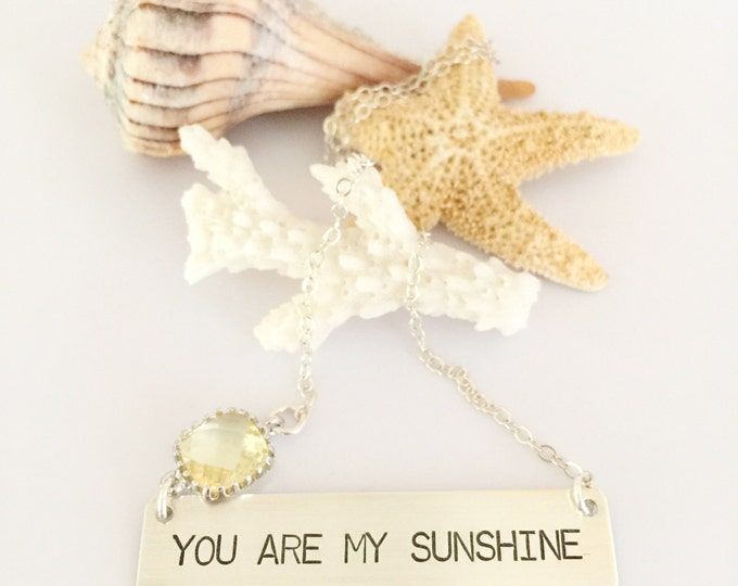 You Are My Sunshine Sterling Silver Bar Necklace