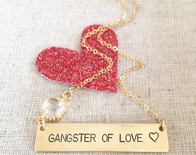 Gangster Of Love Gold Fill Stamped Bar Necklace Nameplate Layering Custom