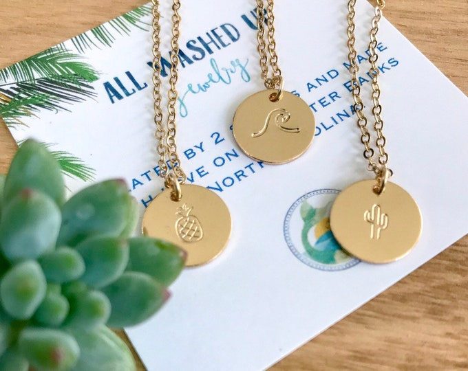 New! Stamped Gold Fill Mini Discs Necklace