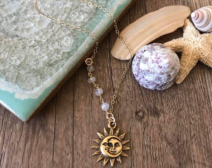 Aysmmetrical Beaded Vintage Sun & Moon Layering Necklace Bohemian Beach Wanderlust Moonchild Star Celestial Sunchild