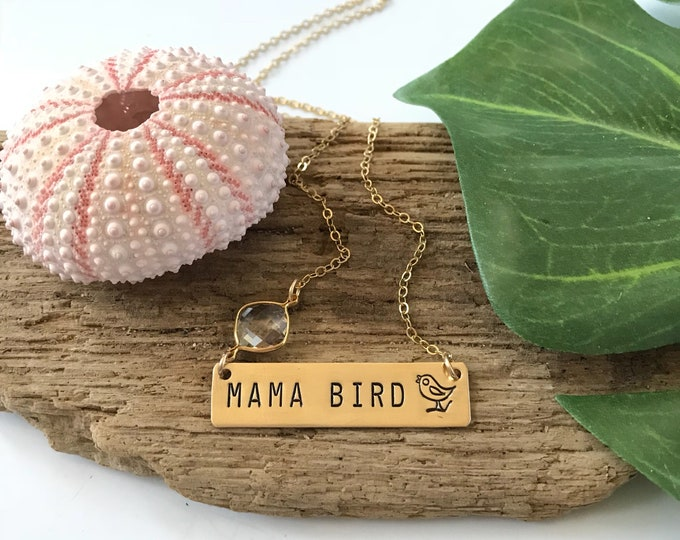 Mama Bird Stamped Gold Fill Bar Necklace Customizable Personalize Mothers Day Push Present Friend Gift Baby Shower New Mom Mother Heart Love