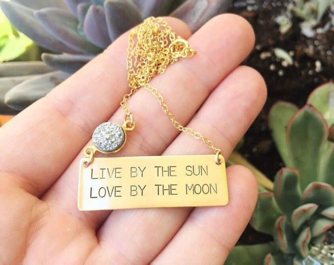 Live By The Sun Love By The Moon Bar Necklace Gold Fill Layering Custom