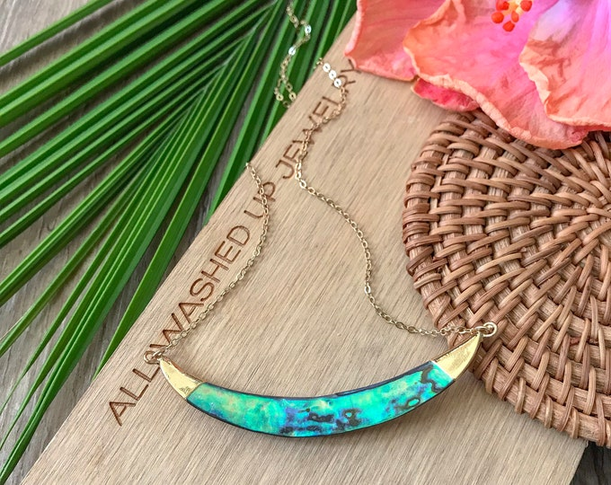 Abalone Shell Horn Layering Boho Pendant Seas the Day Beach Ocean Minded Wedding Bridesmaids Outer Banks