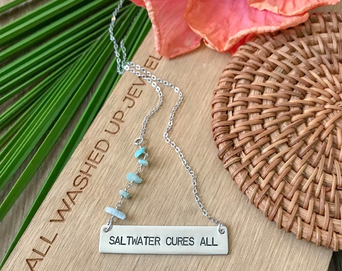 New! // Saltwater Cures All Sterling Silver Bar Neckace