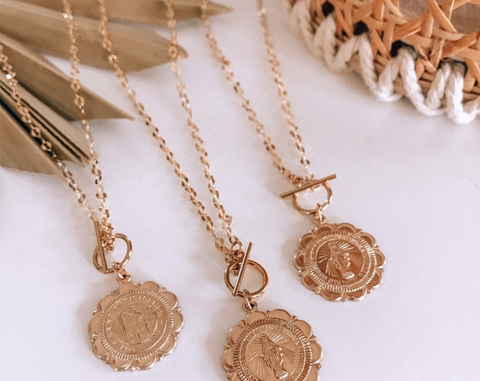 NEW! // 14kt Gold Filled Coin Necklace St. Mary Virgin Mary Saint Christopher