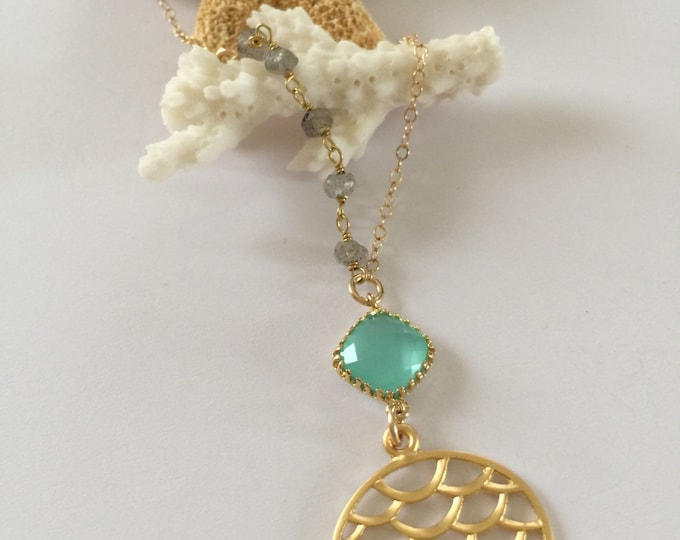 Asymmetrical Beaded Mermaid Scales Layering Disc Boho Mermaid Necklace Beach Sea Turquoise Ocean Anchored Nautical Outer Banks