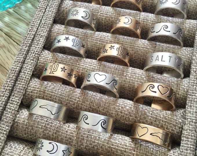New! // Gold Filled and Sterling Silver Stamped Rings