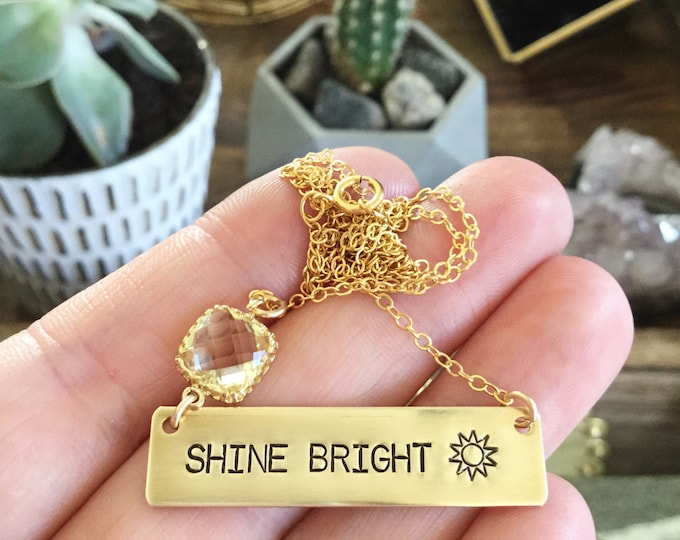 SHINE Bright Stamped Gold Fill Bar Necklace Friend Gift Customizable Boho Layering Name Plate Bridesmaids Beach Outer Banks