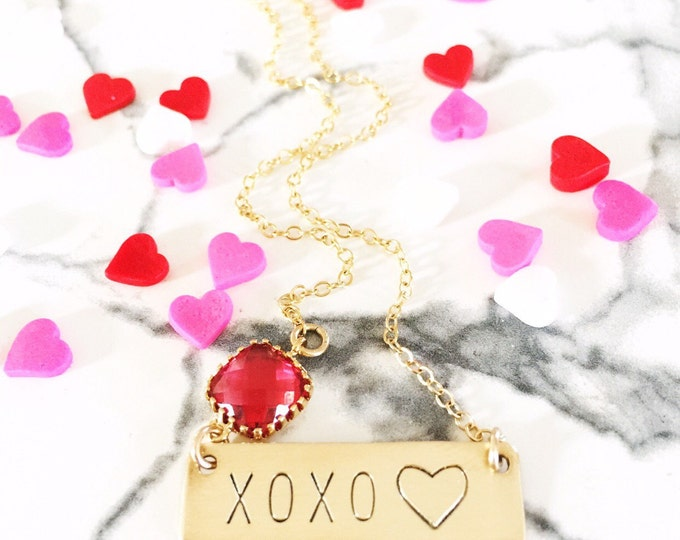 Valentines Day XOXO Stamped Gold Fill Nameplate Layering Bohemian Love Hearts Hugs Kisses Valentines Vday Mothers Day Bridesmaids