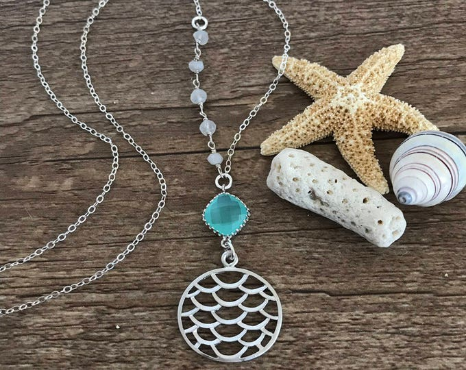 New! // Asymmetrical Beaded Mermaid Scale Layering Disc Boho Mermaid Necklace Beach Sea Turquoise Ocean