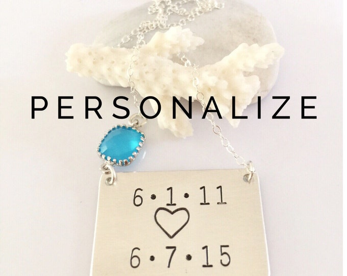 TWO DATE Cusomtizable Bar Sterling Silver Nameplate Mothers Day Anniversary Custom Personalized Stamped Gift Bridesmaid Wedding