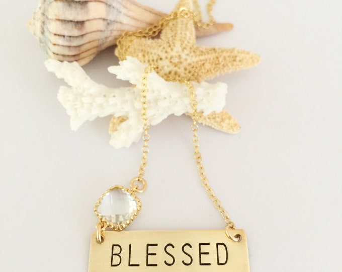 Blessed Stamped Gold Fill Bar Necklace Layering Bohemian Stacking Friend Gift Grateful
