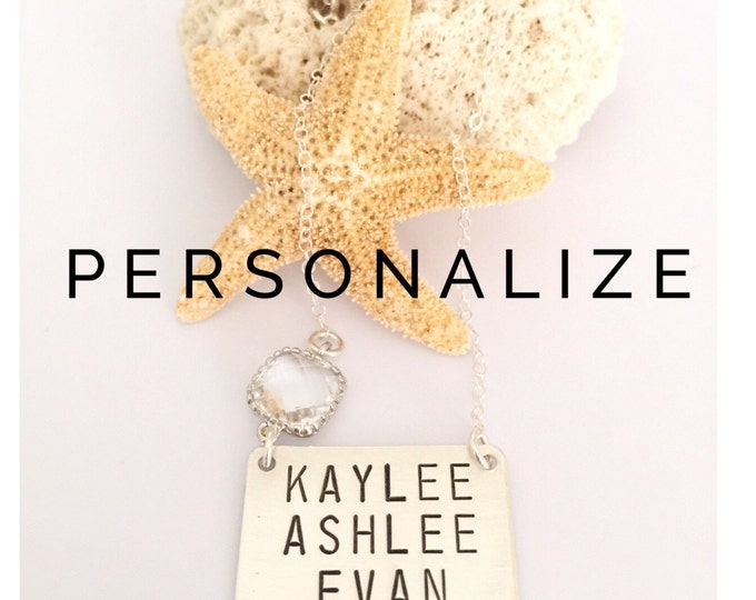THREE Word Customizable Name Bar Necklace Nameplate Personalized Custom Bridesmaids Mothers Day Gift