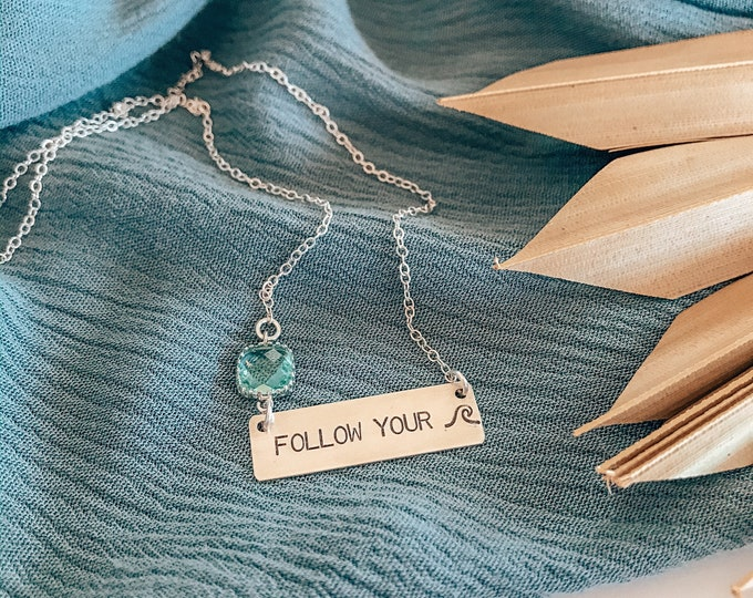 New! // Follow Your Wave Bar Necklace Sterling Silver