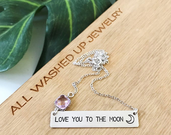 Love You To The Moon Bar Necklace Sterling Silver Nautical Beach Ocean Bridesmaids Wedding Sea Outer Banks OBX Gift Friend Love Anniversary