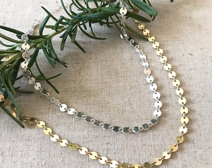 New! // Sterling Silver or Gold Filled Disc Choker
