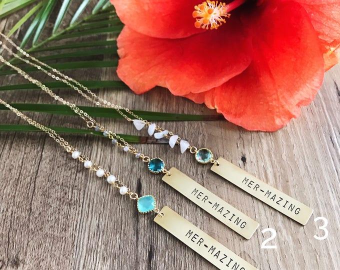 New! // Mermazing Vertical Gold Fill Bar Necklace Mermaid