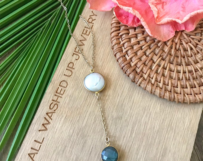 New! // Coin Pearl Labradorite Lariat Necklace