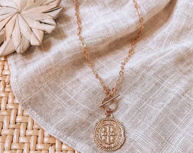 New! 14kt Gold Filled Medallion Toggle Necklace