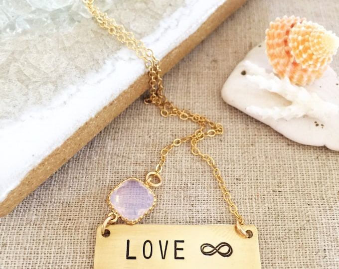 LOVE Infinity Infinate Loved Stamp Gold Fill Bar Necklace Layering Bohemian Valentines Gift Gold Custom Name Personalized