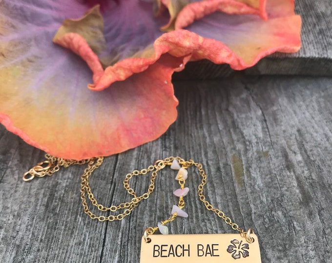 New! // Beach Bae Bar Necklace Gold Fill Moonstone
