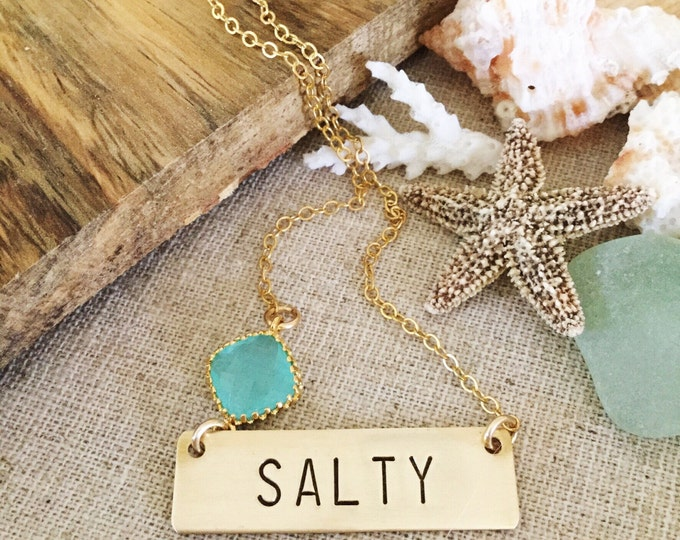 Salty Gold Fill Stamped Bar Necklace