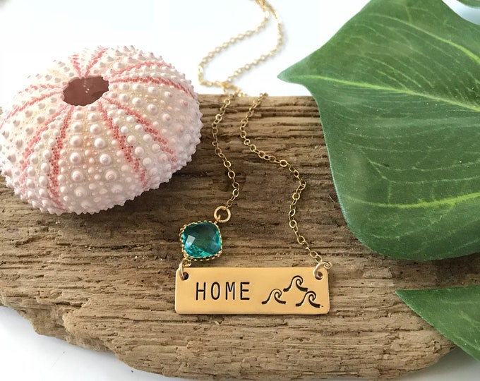 Home Wave Bar Necklace Beach House Ocean Sea Friend Gift Gold Custom Nautical Tropical Salty Mermaid Necklace Pineapple