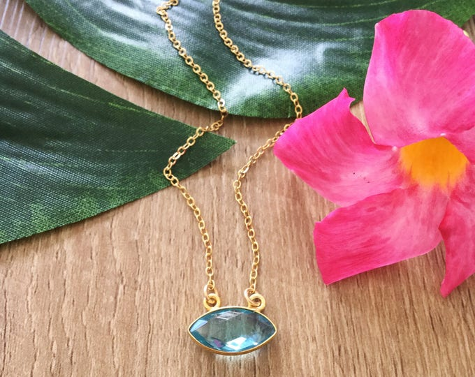 Blue Topaz Pendant Layering Necklace Gold Filled Boho Gift Ocean Vitamin Sea Mermaid Bridesmaids Beach Wedding