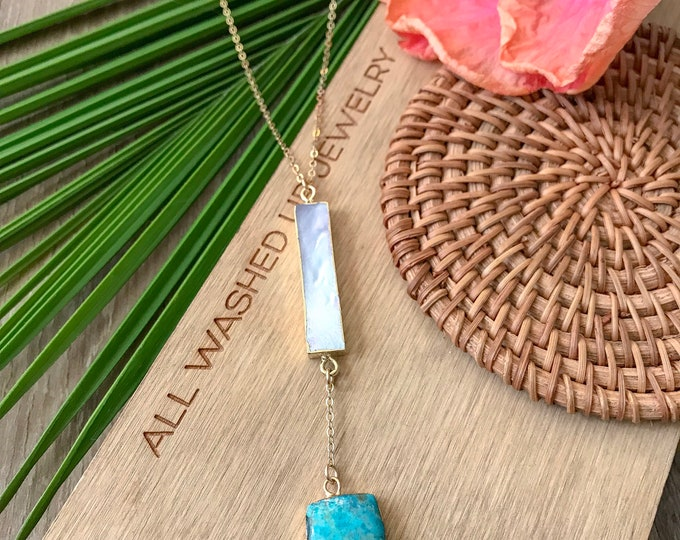 New! // Mother of Pearl and Turquoise Lariat Necklace