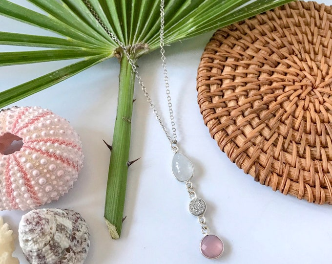 New! // Silver Druzy Rose Quartz Gemstone Trio Necklace