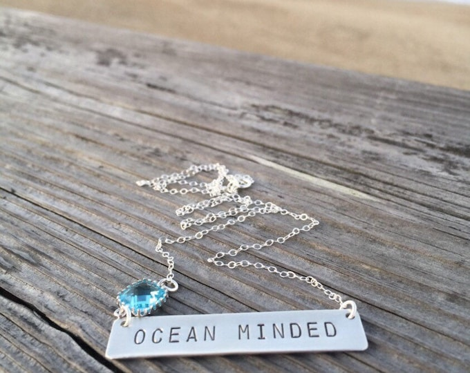 OCEAN Minded Stamped Sterling Silver Bar Necklace Beach Wedding Friend Gift Bridesmaids Boho Outer Banks Sea Layering Necklace Customizable