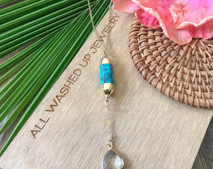 New! // Turquoise Quartz Lariat Gold Fill Necklace