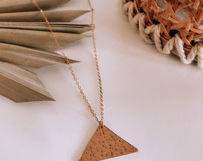 New! // 14kt Gold Filled Hammered Triangle Necklace