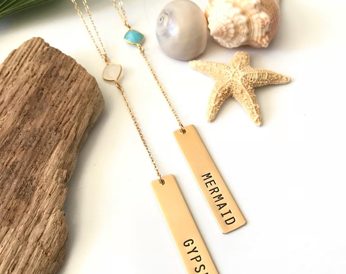New! // Lariat Bar Necklace Gold Fill