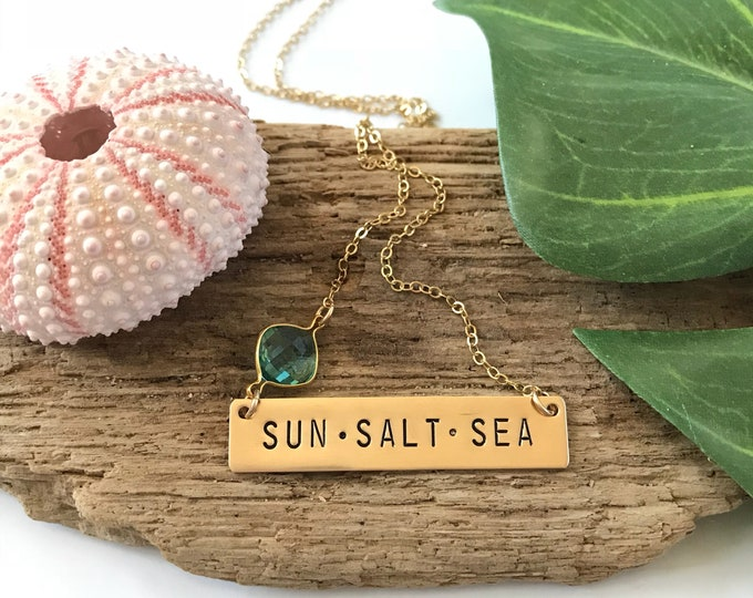 Sun Salt Sea Stamped Gold Fill Bar Necklace Nautical Nameplate Beach Ocean