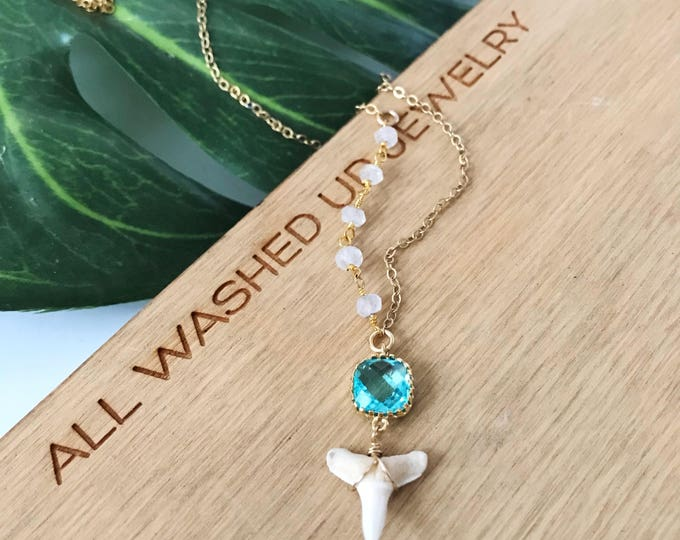Asymmetrical Beaded Wire Wrapped Shark Tooth Necklace