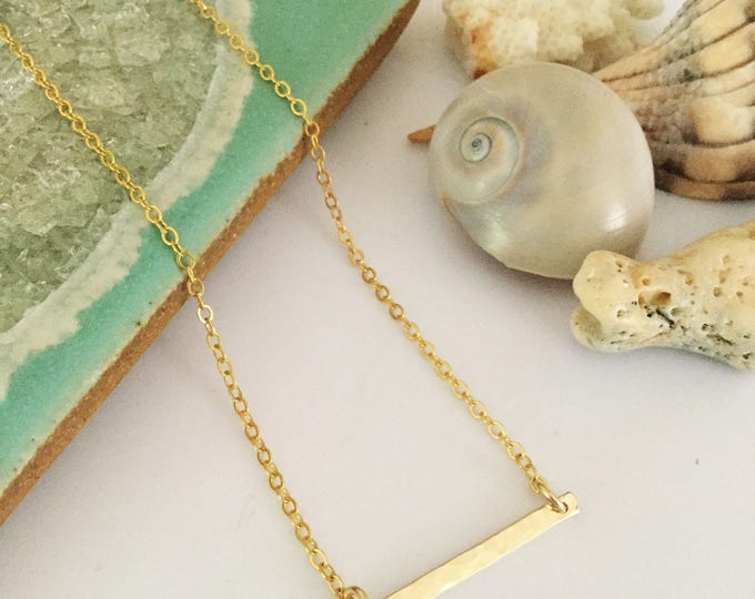 New! // Petite Hammered Gold Filled Bar Necklace