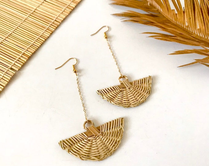 New! // Rattan Fan Dangle Earrings