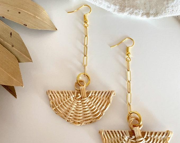 New! // Rattan Fan Dangle Earrings