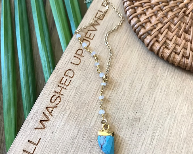 New! // Small Beaded Turquoise Horn Lariat Necklace