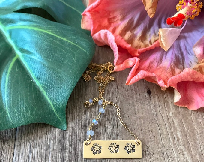 New! // Hibiscus Bar Necklace Gold Fill Moonstone