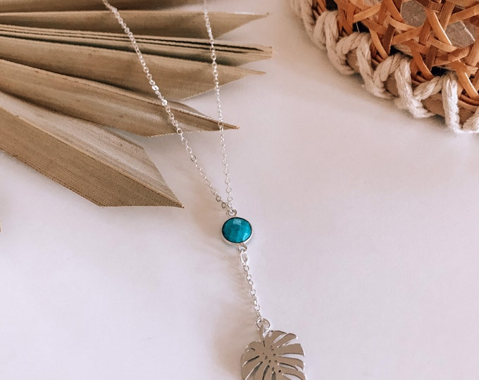 New! // Monstera Leaf & Faceted Turquoise Lariat Necklace